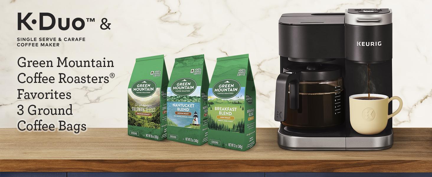 k-duo coffee maker, kduo carafe maker, drip coffee, green mountain coffee, bagged coffee