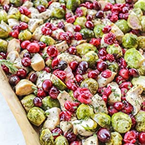 Roasted cranberry chicken & brussels sprouts