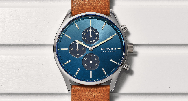 Brown Leather Skagen Watch with Blue face and three chronograph dials