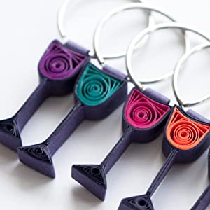 wine glass charms, craft, quilling, modern art
