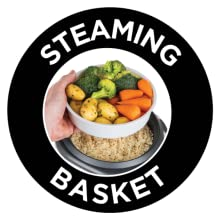 Steamer Basket, Measuring Cup and Spoon included