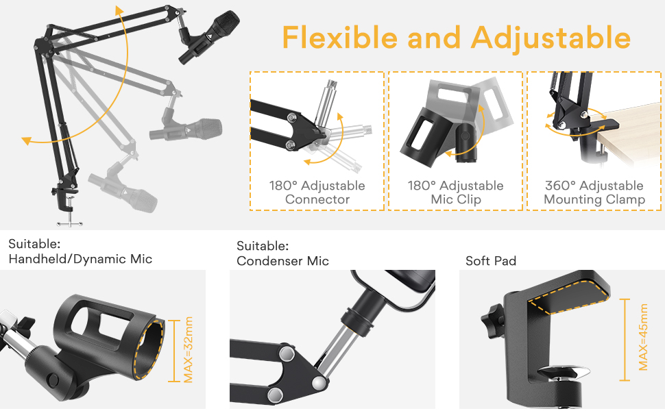 microphone stand boom arm for recording studio, singing, live streaming