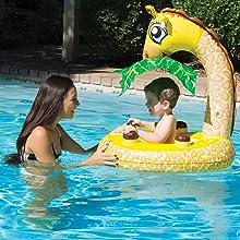 Bebê nadar, flutuador do bebê com dossel do sol, aprender a nadar, piscina de natação do bebê, piloto da bóia do bebê, nadar brinquedos float