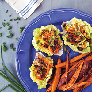Bison Lettuce Cups with Garnet Yam Home Fries