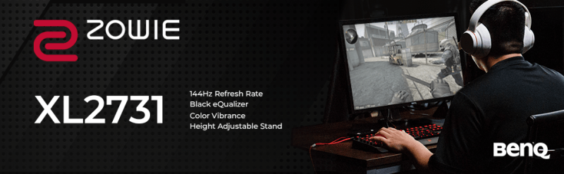 xl2731 144hz refresh rate black equalizer color vibrance height adjustable stand esports monitor