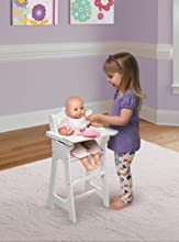 Model 10193 Badger Basket Chevron Doll High Chair with Plate, Bib, and Spoon - White/Pink