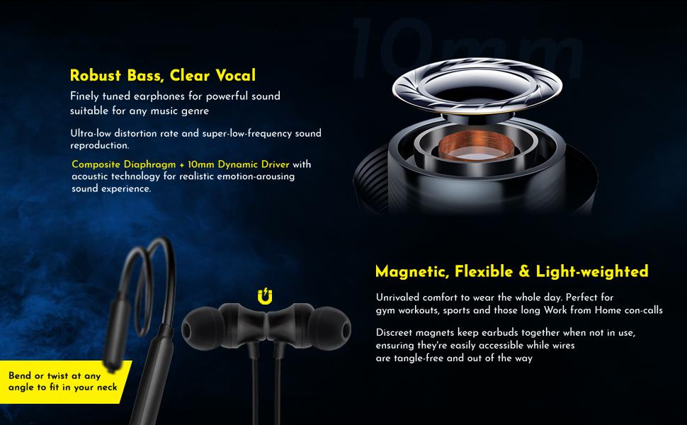 pTron Tangent Lite wireless earphones with mic