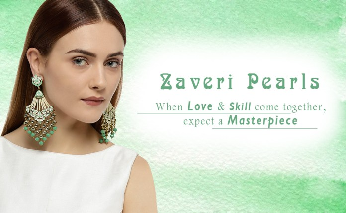 ZAVERI PEARLS,EARRING,MEENAKARI EARRING,ENAMELLED EARRING,GREEN EARRING,KUNDAN EARRING,EARRINGS