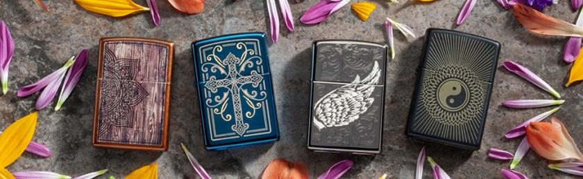 spiritual, spiritual lighters, zippo lighters, religious, cross, angel wings, mandala, yin and yang