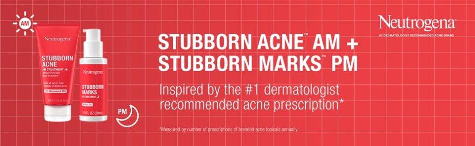 Neutrogena Stubborn Acne & Marks Treatments inspired by dermatologist-recommended acne prescription