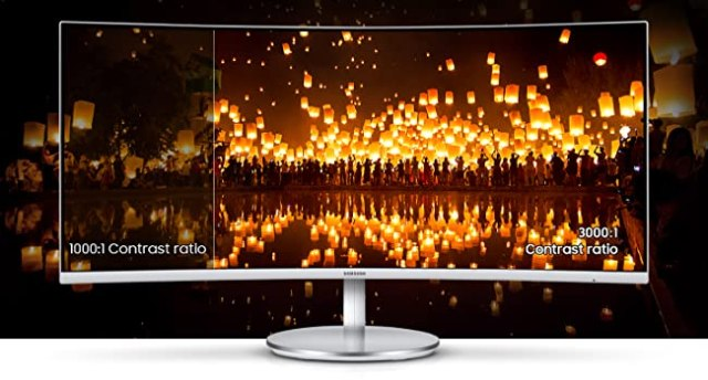 Side-by-side comparison of a conventional 1000:1 vs Samsung CJ79 3000:1 contrast ratio