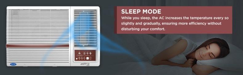 sleep mode of Carrier 1.5 Ton 3 Star Window AC (Copper CAW18SN3R39F0 White)