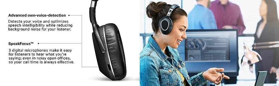over ear headset, senheiser over ear headphones, bluetooth headset, office headset, pc headset