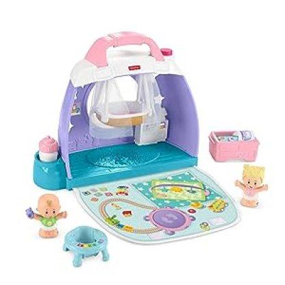 Fisher-Price Little People Babyzimmer, zusammenklappbares und tragbares Set für Kleinkinder