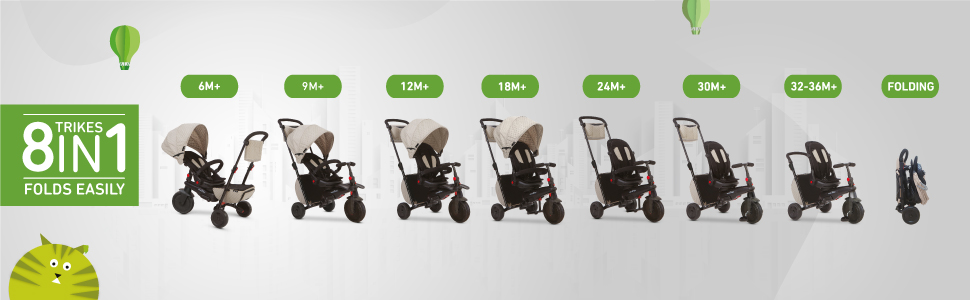 Smart trike 8 in 1 for 8 different stages to accommodate to your baby's needs