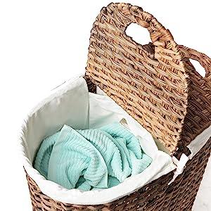 seville classics oval tall woven wicker water hyacinth lidded double laundry bag hamper sorter