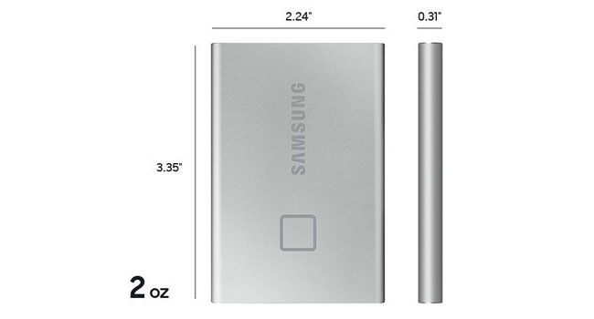 Samsung Portable SSD T7 Touch dimensions diagram