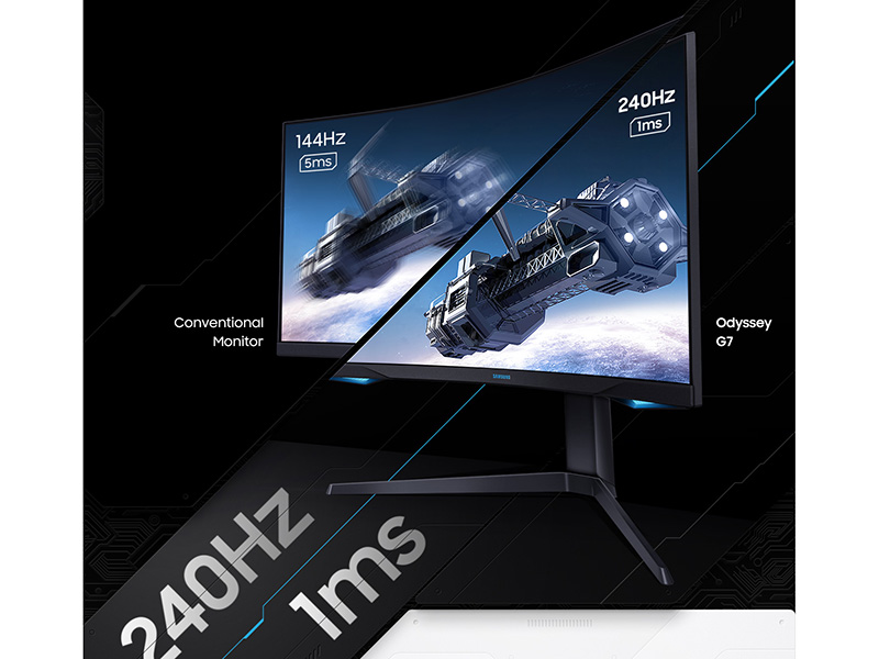 Refresh rate of a conventional monitor vs. Samsung Odyssey G7