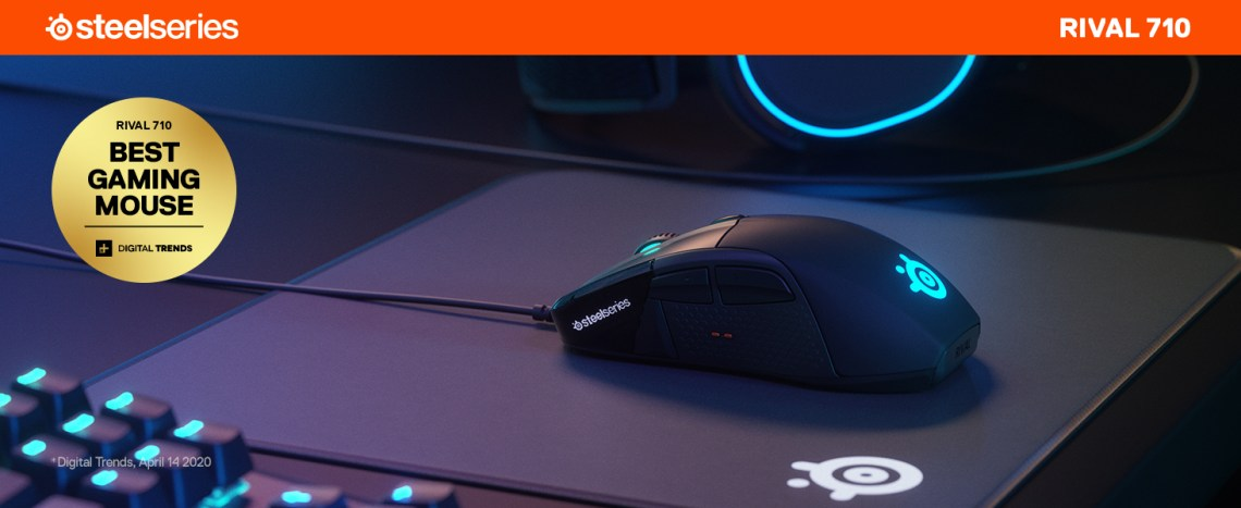 - Rival 710 mouse on a QcK mousepad