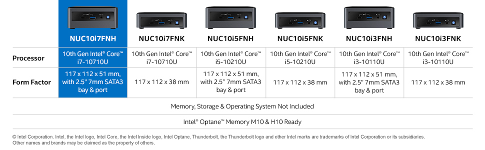 Intel NUC 10 Performance Kit - BXNUC10i7FNH - Core i7 (tall chassis)
