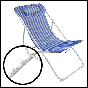 Harbour Housewares Folding Adjustable Traditional Metal Garden Deck Chair Beach Reclining Recliner