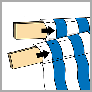 Unfold your fabric seat and insert the two supports into the sleeves at either end