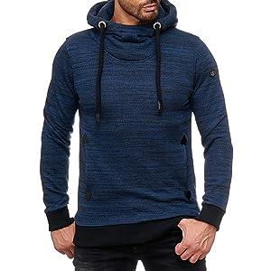 M2144 Redbridge Herren Hoodie Sweatshirt High Collar Pullover Kapuze Red Bridge Jeans Blau