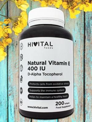 Vitamina E Natural 400 UI IU 400 mg Hivital foods