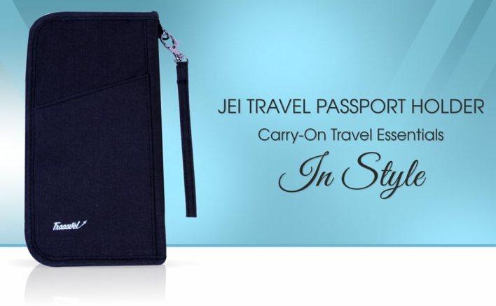 JEI Travel Passport Wallet Document Organizer Zipper Bag Waterproof Removable Bracelet Strap