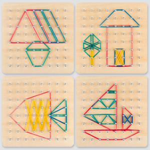 Geoboard di Legno con Carte di Pattern di attività e Bande di Gomma - 8x8 Pin Geometria Geoboard