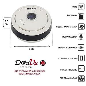 telecamera wifi, telecamera senza fili, allarme, antifurto, telecamera 360, dome, bullet, fisheye