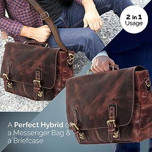leather laptop bag crossbody messenger satchel office business dark brown