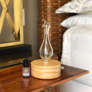 diffuser, essential oil diffuser, diffuser in the bedroom, diffuser with lavender essential oil