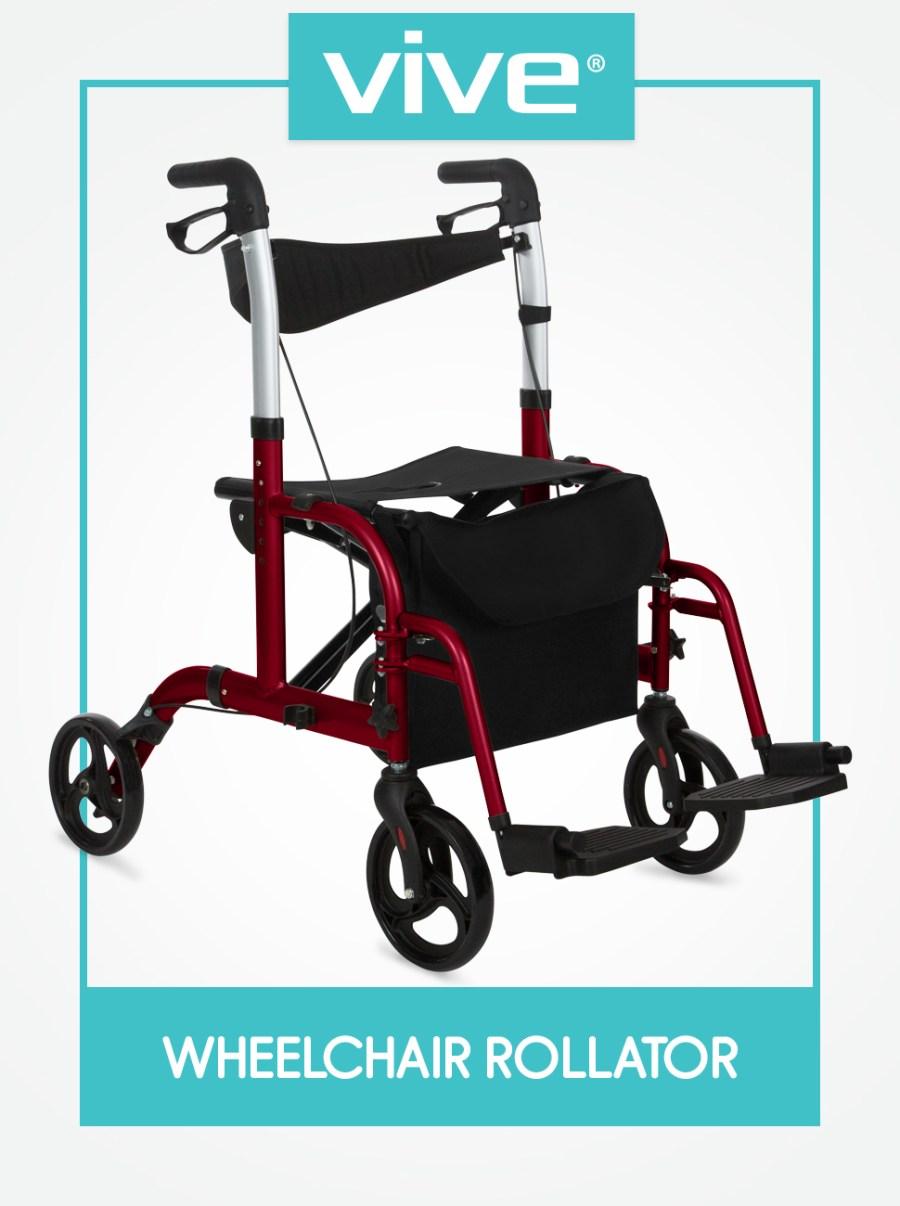 Andador Vive Rollator com Assento - Cadeira de Transporte para Cadeira de Rodas - Rodas de 8 Polegadas - Dobrável, Leve