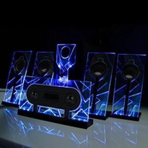 basspulse 5.1 blue glowing speakers