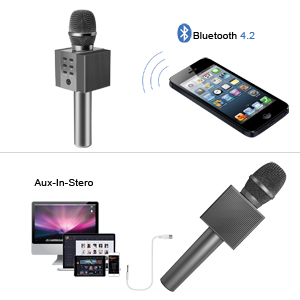 TOSING 008 Wireless Bluetooth Karaoke Microphone,Louder Volume 10W Power, More Bass, 3-in-1 Portable Handheld Double Speaker Mic Machine for iPhone/Android/iPad/PC (Black)