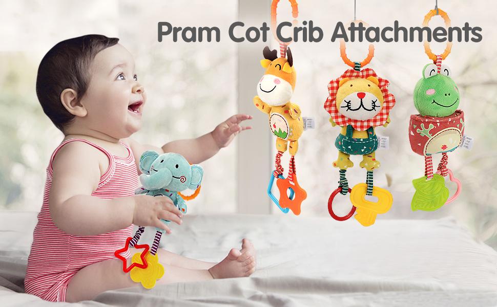 TUMAMA Baby Handbells Rattles Soft Plush Early Development Toys for 0, 3, 6, 9, 12 Month
