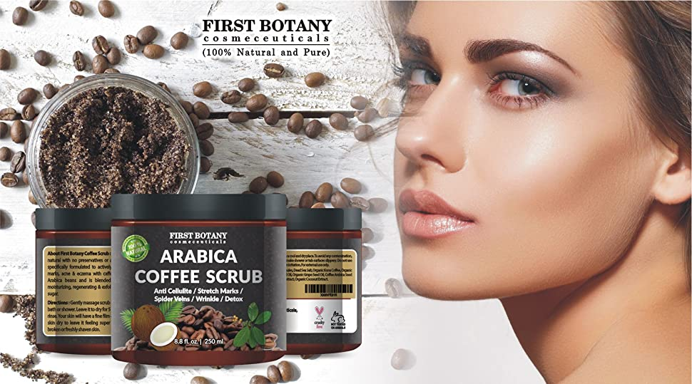 100% Natural Arabica Coffee Scrub with Organic Coffee, Coconut and Shea Butter - Best Acne, Anti Cellulite and Stretch Mark treatment, Spider Vein Therapy for Varicose Veins & Eczema 10 oz 21