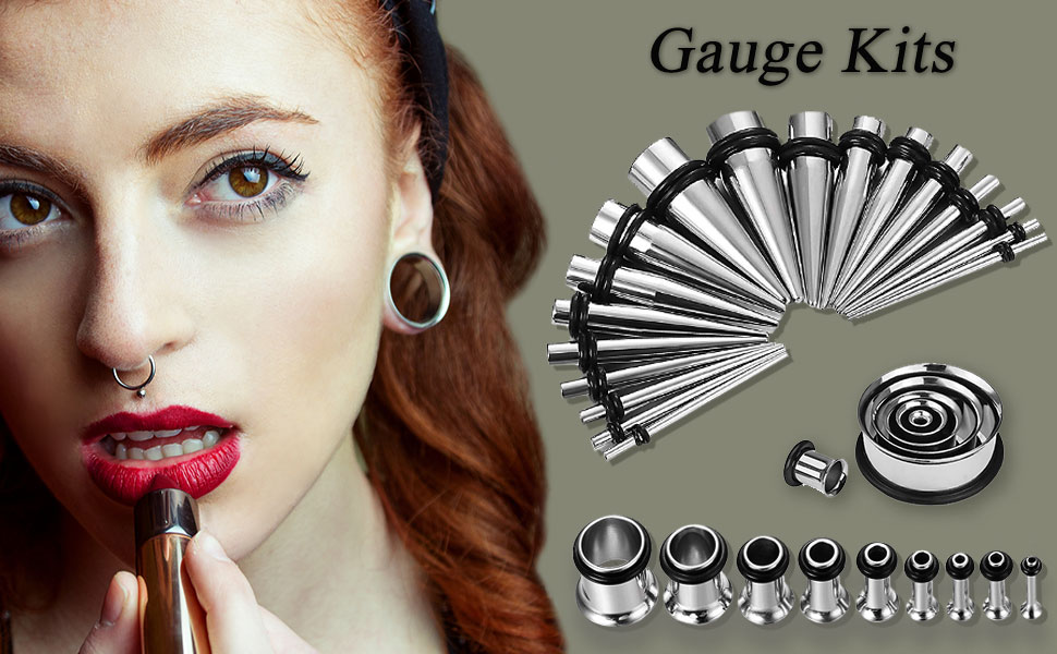 gauge kits with silver tapers and tunnels