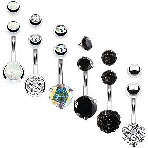 opal crystal black ab belly rings