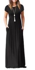 Short Sleeve Loose Plain Maxi Dresses