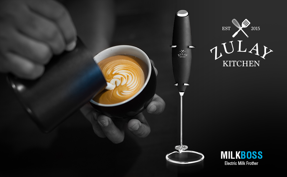 Milk Frother  by Zulay Kitchen works great and for a long time to make wonderful lattes