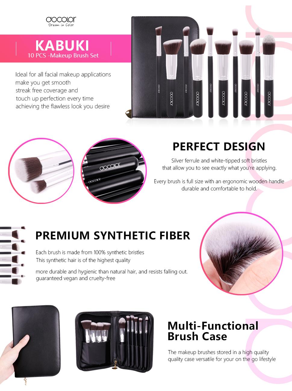 Kabuki Makeup Brush Travelling Set  5pcs Soft Nylon Hair Com Docolor 10pieces Synthetic Wooden Handle Professional Aliexpress 10pcs Brushes Superior Mini Cosmetics