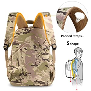 Flora Camo Prints Waterproof Nylon Elementary School Backpack Bookbag for Teenage Boys