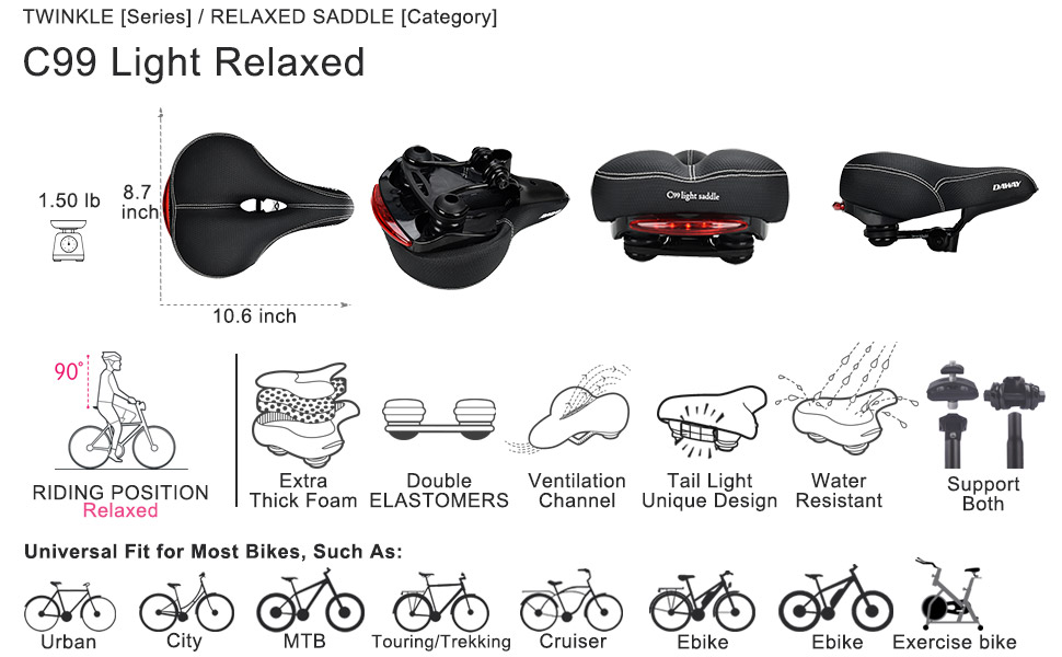 Professional bike seat, extra soft for men, women, seniors, Fat Fanny