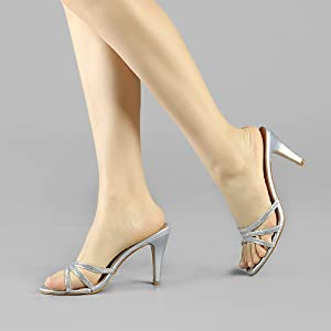 Allegra K Women's Rhinestone Strappy Heel Mules