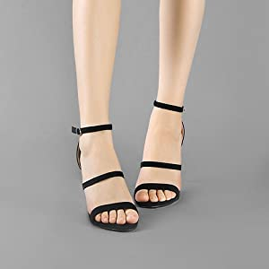 Allegra K Women's Triple Straps Stiletto Sandals