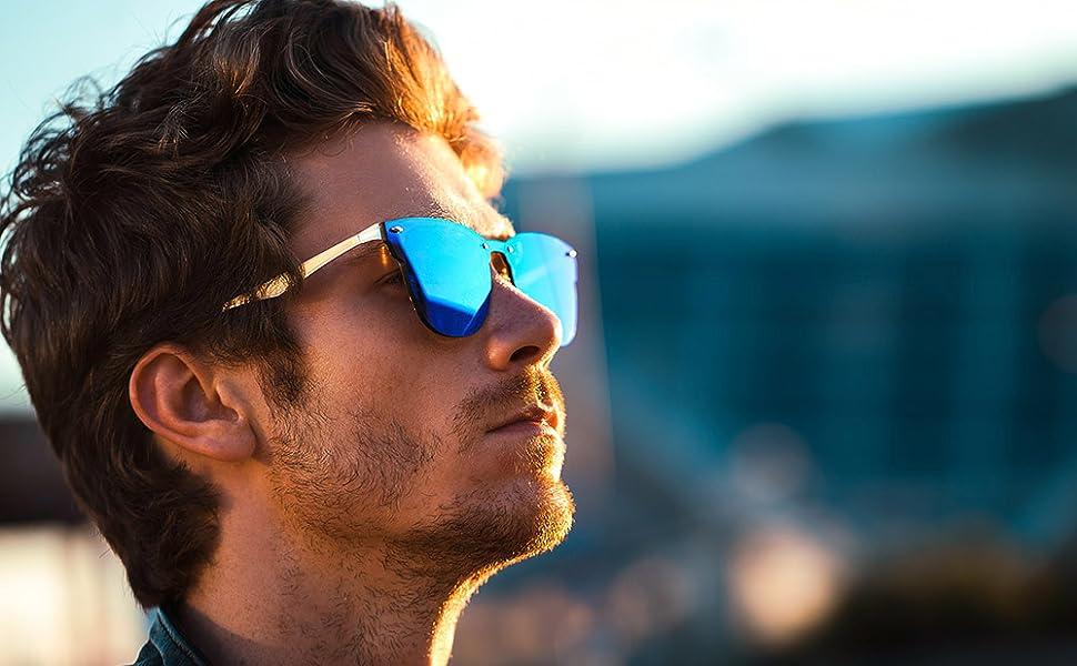 full lens blue mirrored clubmaster sunglasses for men