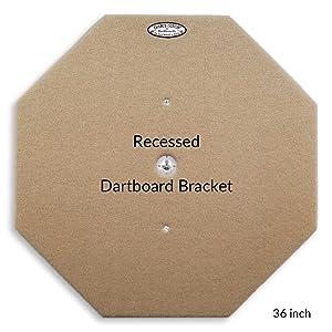 Dart-Stop Dartboard Backboard Pre-Installed Recessed Dartboard Bracket, Wobble-Free