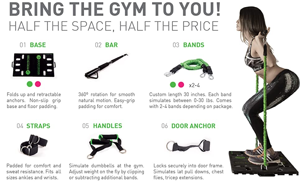 BodyBoss 2.0 - Full Portable Home Gym Workout Package + Resistance Bands - Collapsible Resistance Bar, Handles - Full Body Workouts for Home, Travel or Outside 16